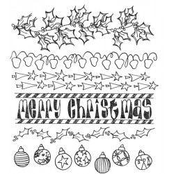 Christmas Borders Dyan Reaveley's Dylusions Cling Stamp