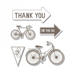Bycicle Stamp & Die Cut Framelits with Cling Stamps Sizzix