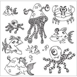 Under The Sea Dyan Reaveley's Dylusions Cling Stamp