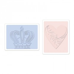 Crown & Heart Set Textured Impressions Embossing Folders