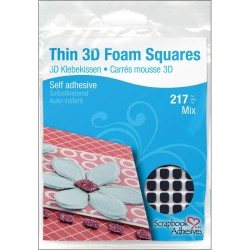 Black Thin 3 D Foam Square Self Adhesive