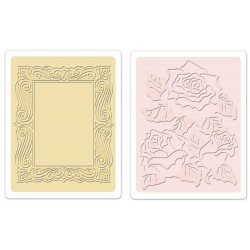 Roses & Frame Set Textured Impressions Embossing Folders