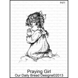 Praying Girl Cling Rubber Stamp Our Daily Bread desings