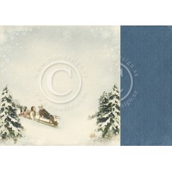 "Sleigh Ride 12"" x 12"" Wintertime in Swedish Lapland Pion design"