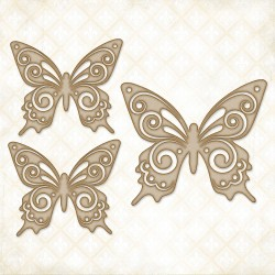Brigitte Butterfly Set Chipboard Blue Fern