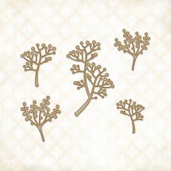 Berry Stems Chipboard Blue Fern