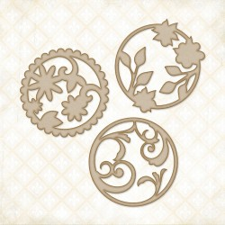 Circle Motifs Chipboard Blue Fern