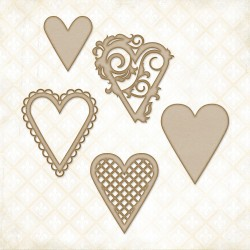 Heart Set Chipboard Blue Fern