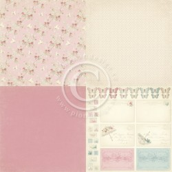 "Pink Fabric 6"" x 6"" Paris Flea Market Pion design"