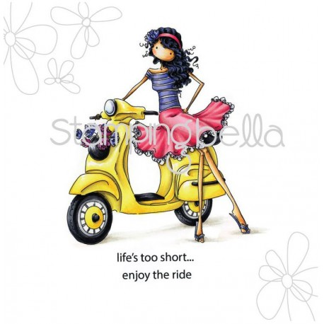 "Uptown Girl Vienna And Her Vespa Stamping Bella Cling Rubber Stamp 4""x3,5"""