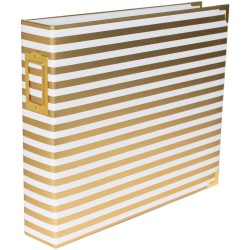 "Gold Stripes Desktop Edition D-Ring Album 12""x12"" Project Life American Crafts"