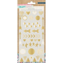 Puffy Gold Stickers Craft Market Crate Paper