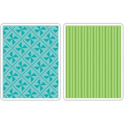 Pinwheels & Stripes Set 2 Textured Impressions Embossing Folders by Where Women Cook