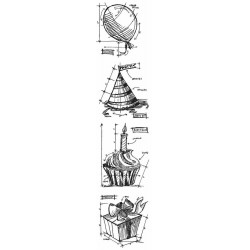 Birthday Mini Blueprints Strip Cling Mounted Stamp Set Tim Holtz Collection
