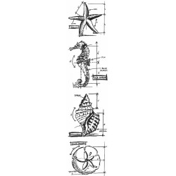 Nautical Mini Blueprints Strip Cling Mounted Stamp Set Tim Holtz Collection
