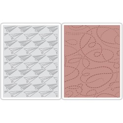 Paper Airplane & Dotted Lines Set Texture Fades Sizzix Tim Holz