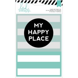 "My Happy Place Wanderlust Stamp & Stencil Set 5""x7"" Heidi Swapp"