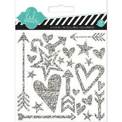 Silver Shapes Hello Today Puffy Glitter Stickers