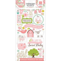 """Baby Girl Chipboard Accents 6""""x13"""" Bundle Of Joy A New Addition Echo Park"""