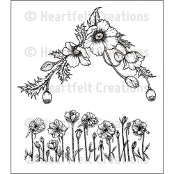 Poppy Corner & Border Cling Rubber Stamps Heartfelt Creations