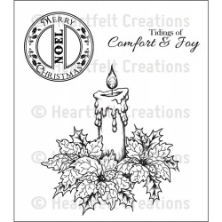 Sparkling Poinsettia Candle Cling Rubber Stamps Heartfelt Creations