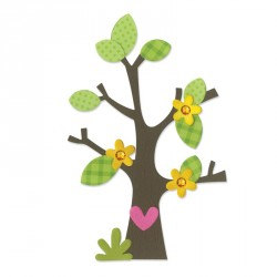 Tree with Flower Heart & Leaves Bigz Die Sizzix