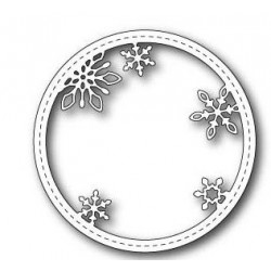 Stitched Snowflake Circle Frame Memory Box Die