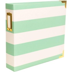 """Teal Stripes Project Life Ring Album 8""""x8"""" by Heidi Swapp"""
