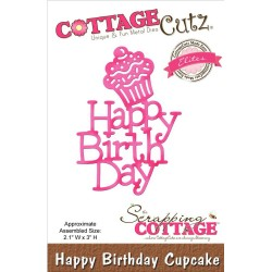 Fustella Happy Birthday Cupcake Die CottageCutz