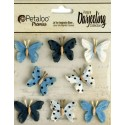 Fiori Petaloo Mini Butterflies Teastained Blue Premier Darjeeling Collection 8 Pkg