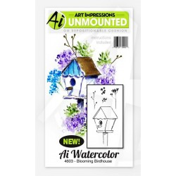 Blooming Birdhouse Set Cling Rubber Stamp Art Impressions