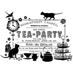 Tea Party Ticket Rubber Stamp Crafty Individuals