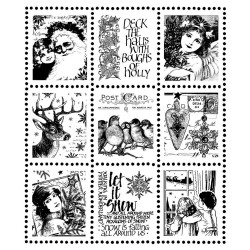 Christmas Postage Stamps Rubber Stamp Crafty Individuals