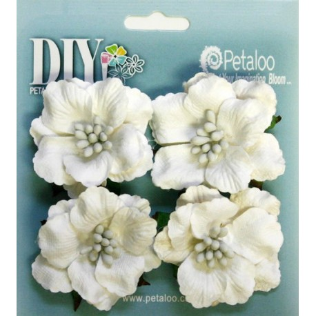 Fiori Petaloo White DIY Darjeeling Ruffled Rose x 4 Pkg