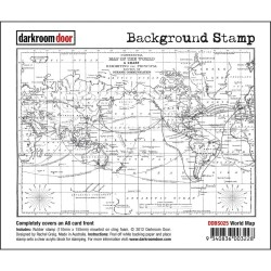 Timbro World Map Cling Rubber Stamp Darkroom Door
