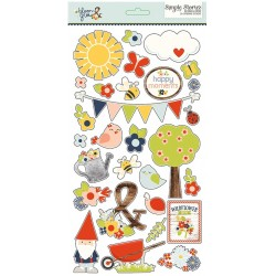 """Bloom & Grow Chipboard Stickers 6""""x12"""" Simple Stories"""