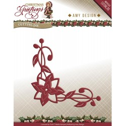 Poinsettia Corner Christmas Greetings Die Amy Design
