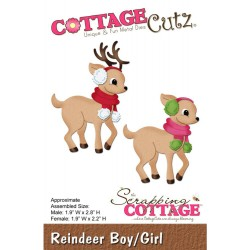 Reindeer Boy Girl CottageCutz Die