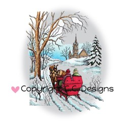 Sleigh Ride Rubber Stamp C.C. Designs