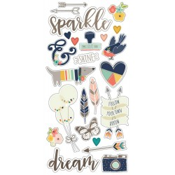 "Posh Chipboard Stickers 6""x12"" with Gold Foil Accent Simple Stories"
