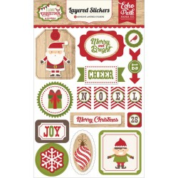 I Love Christmas Adhesive Layered Stickers Echo Park