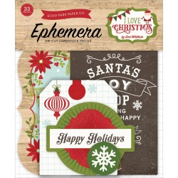 I Love Christmas Ephemera Die Cut Cardstock Pieces Echo Park
