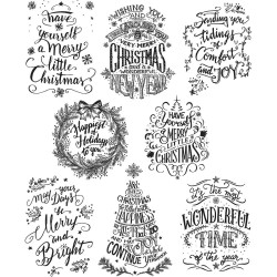 """Mini Doodle Greetings Tim Holtz Cling Rubber Stamp Set 7""""x8,5"""""""