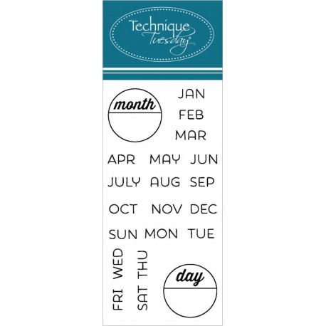 "Calendar Months & Days Clear Stamps 2""x2,5"" Technique Tuesday"