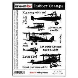 Vintage Planes Rubber Stamps Darkroom Door