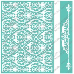 "Haunted Damask Embossing Folder 5""x7"" Cricut Cuttlebug"