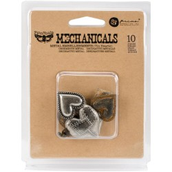 Tin Hearts Mechanicals Metal Embellishments by Finnabair Prima Marketing