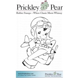 Boy with Airplaine Cling Rubber Stamps Prickley Pear