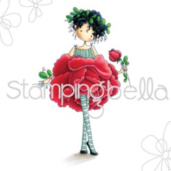 Timbro Tiny Townie Garden Girl Rose Stamping Bella Cling Rubber Stamp