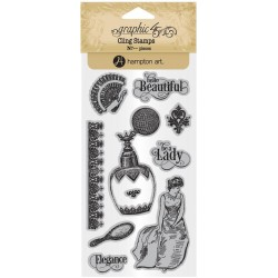 Timbri Portrait of Lady 2 Cling Stamps by Graphic45 Hampton Art